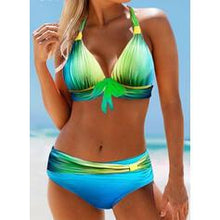 Load image into Gallery viewer, Print Knotted Halter Plus Size Colorful Bikinis Swimsuits