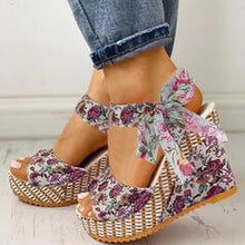 Load image into Gallery viewer, NEW! Women's Cloth Wedge Heel Sandals Peep Toe With Bowknot shoes