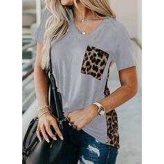 Print Patchwork Leopard V-Neck Short Sleeves Casual T-shirts