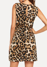Load image into Gallery viewer, Leopard Tie Hollow Out Mini Dress