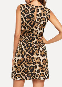 Leopard Tie Hollow Out Mini Dress