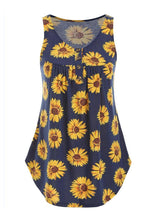 Load image into Gallery viewer, Sunflower Button Casual Tank - Navy Blue