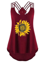 Load image into Gallery viewer, Sunflower Criss-Cross Hollow Out Tank - Burgundy