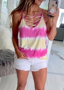 Presale - Tie Dye Criss-Cross Camisole without Necklace