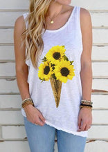 Load image into Gallery viewer, Sunflower Ice Cream Open Back Tank without Necklace - White