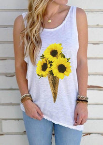 Sunflower Ice Cream Open Back Tank without Necklace - White