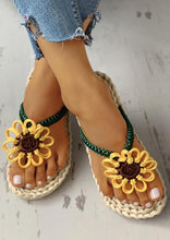 Load image into Gallery viewer, Summer Sunflower Braided Flip Flop Slippers