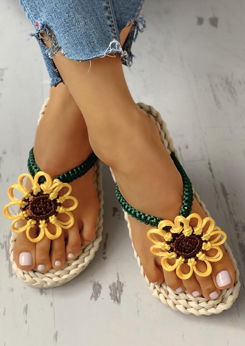 Summer Sunflower Braided Flip Flop Slippers