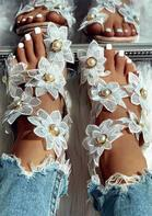 Summer Sunflower Pearl Slip On Flat Sandals