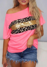 Load image into Gallery viewer, Presale - Leopard Sequined Splicing T-Shirt Tee - Pink