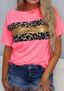 Presale - Leopard Sequined Splicing T-Shirt Tee - Pink