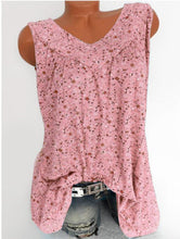 Load image into Gallery viewer, Floral Print Deep V-Neck Sleeveless T-Shirt
