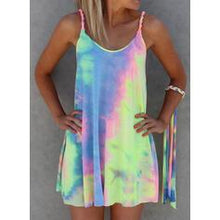 Load image into Gallery viewer, Colorful Dye Printed Mini Vacation Dress