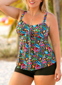 Floral Print Strap V-Neck Plus Size Colorful Tankinis Swimsuits