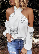 Load image into Gallery viewer, Print Cold Shoulder Long Sleeves Sexy Blouses