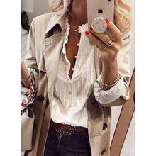 Load image into Gallery viewer, Solid V-Neck Long Sleeves Button Up Casual Elegant Blouses