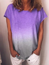 Load image into Gallery viewer, Round Neck Solid Color Gradient Short Sleeve