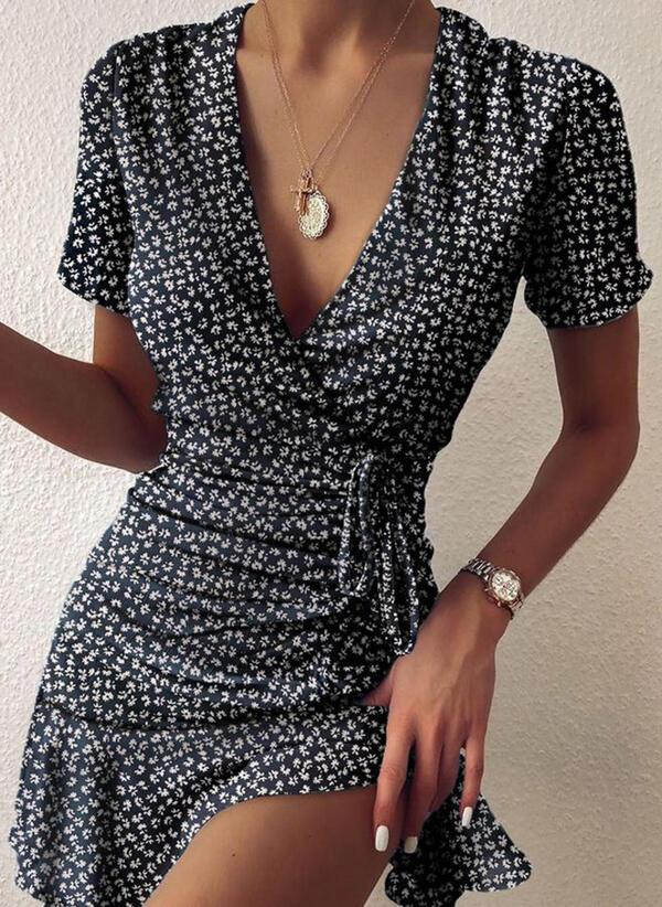 NEW! Print Short Sleeves Sheath Above Knee Casual/Elegant Dresses