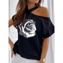 Load image into Gallery viewer, Print Floral One-Shoulder Short Sleeves Casual T-shirts