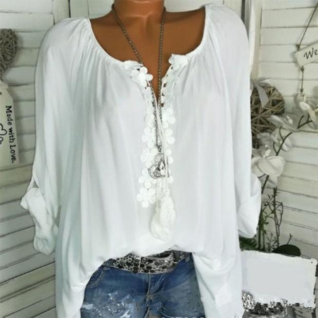 Long sleeve lace panelled shirt
