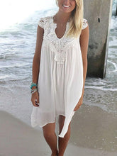 Load image into Gallery viewer, Solid Color V-Neck Lace Sleeveless Dress