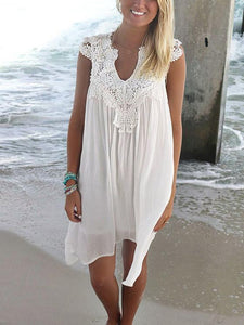 Solid Color V-Neck Lace Sleeveless Dress