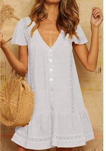 Solid Color Lace V-Neck Button Cutout Stitching Short-Sleeved Dress