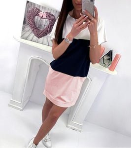 Multicolor Crew Neck Short Sleeve Dress