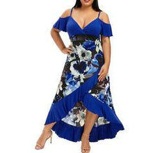 Load image into Gallery viewer, Print/Floral Cold Shoulder Sleeve A-line Asymmetrical Casual/Plus Size Dresses