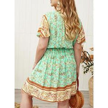 Load image into Gallery viewer, Print/Floral Short Sleeves A-line Knee Length Casual/Boho/Plus Size Dresses