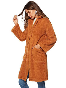 Lapel large pocket long woolen coat