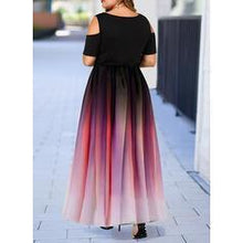 Load image into Gallery viewer, Print Short Sleeves/Cold Shoulder Sleeve A-line Plus Size Midi Dresses