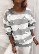 Load image into Gallery viewer, Print Color Block Striped Round Neck Long Sleeves Casual T-shirts