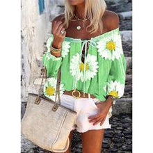 Load image into Gallery viewer, Print Floral Off the Shoulder Long Sleeves Casual Blouses