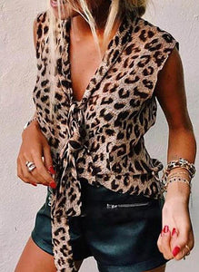 Animal Print V-Neck Sleeveless Casual Elegant Tank Tops