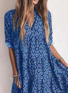 Print 1/2 Sleeves Shift Knee Length Casual/Vacation Dresses