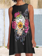 Load image into Gallery viewer, Skull A-Line Dress