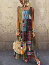 Load image into Gallery viewer, Plus Size Ethnic Printed Round Neck Maxi Dress
