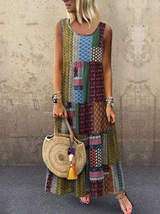 Plus Size Ethnic Printed Round Neck Maxi Dress