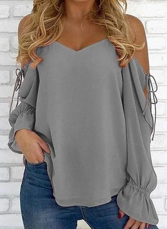 Solid Cold Shoulder Long Sleeves Casual Blouses