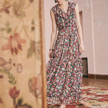 Load image into Gallery viewer, Floral Flounced Collar Long Flowing Holiday Dress
