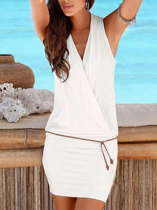 Beach Deep V-neck Sleeveless Belt Casual Dress