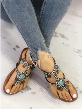 Load image into Gallery viewer, Boho Style Shiny Embellished Toe Post Flat Sandals