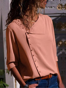 Button Irregular Diagonal Collar Long Sleeve Blouses  | ZDT