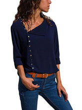 Load image into Gallery viewer, Button Irregular Diagonal Collar Long Sleeve Blouses  | ZDT