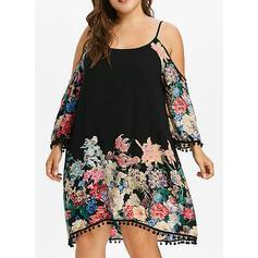 Print/Floral Long Sleeves Shift Knee Length Casual/Vacation/Plus Size Dresses