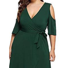 Solid 3/4 Sleeves/Cold Shoulder Sleeve A-line Little Black/Party/Elegant/Plus Size Midi Dresses