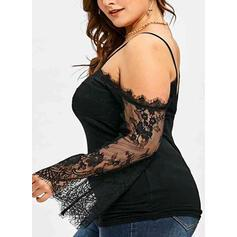 Solid Lace Cold Shoulder Long Sleeves Casual Plus Size Blouses