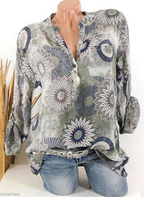 Load image into Gallery viewer, Print Floral V-Neck Long Sleeves Button Up Casual Elegant Blouses