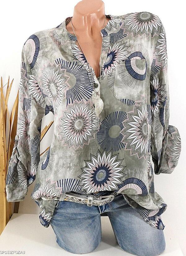 Print Floral V-Neck Long Sleeves Button Up Casual Elegant Blouses